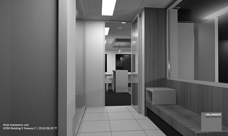 Original concept: a entry joinery through the waiting area and arriving the \'hub\' for initial conversation / contact.